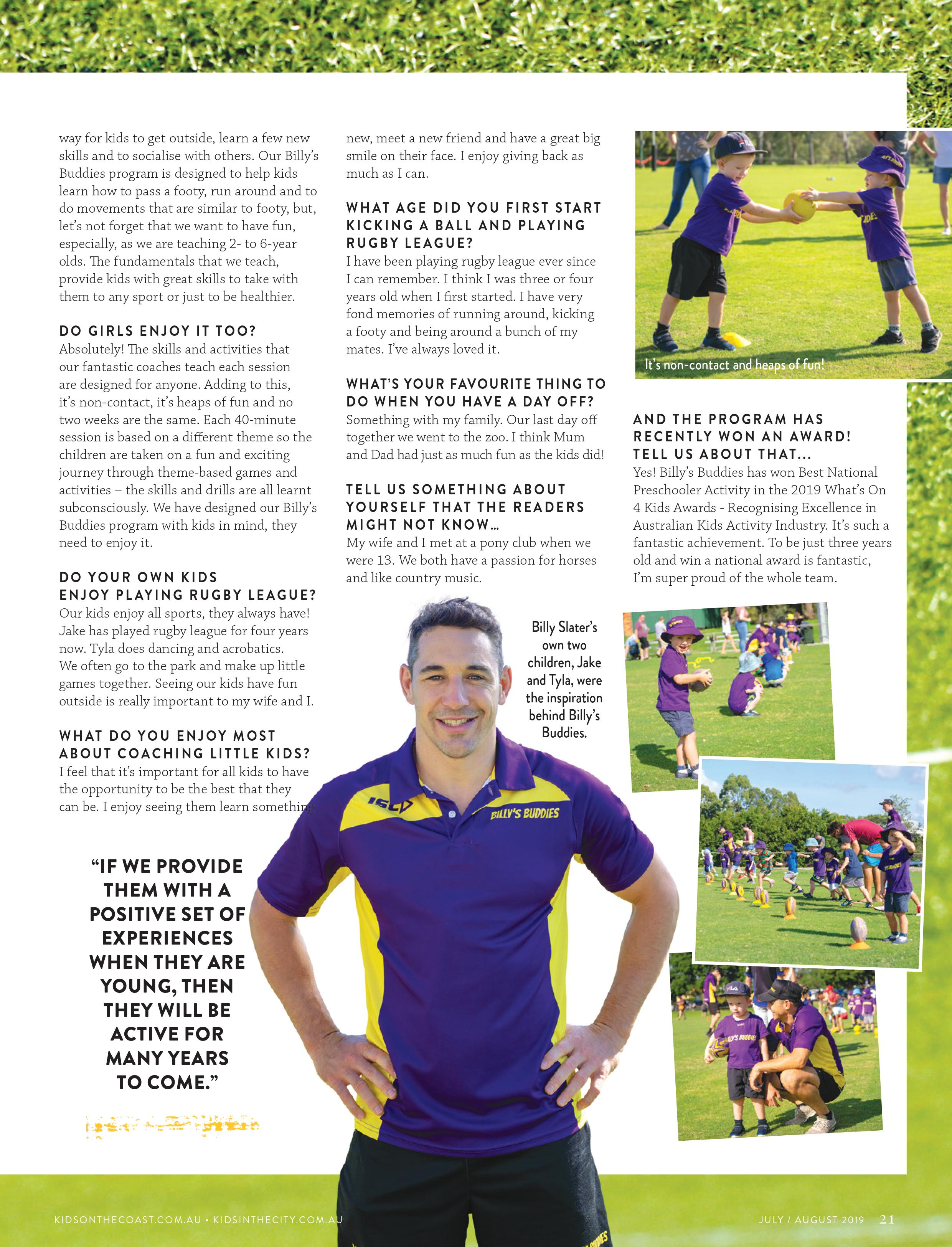 Billy Slater Speaks to Kids On The Coast and Kids In The City About the Billy's Buddies Program