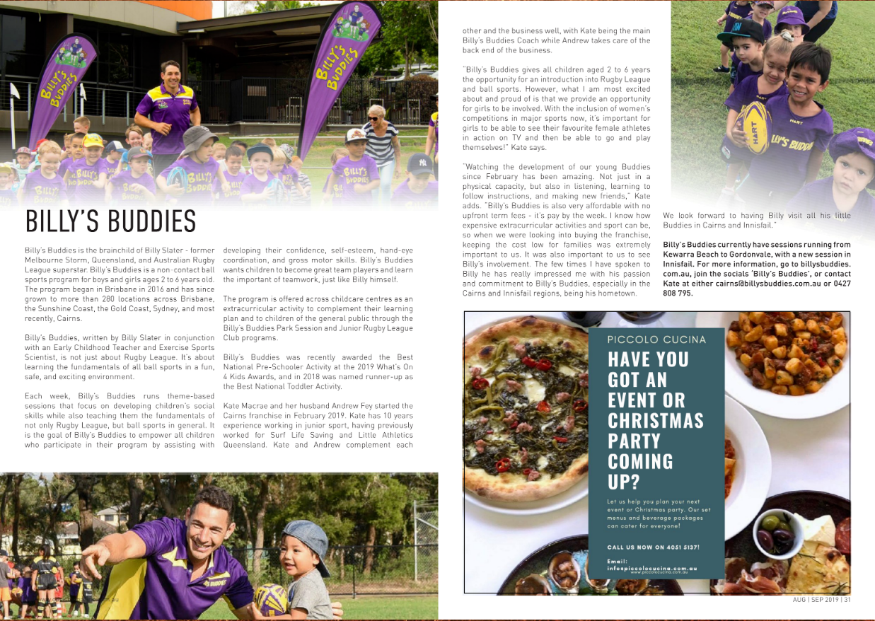Billy's Buddies features in Cairns Oasis Magazine