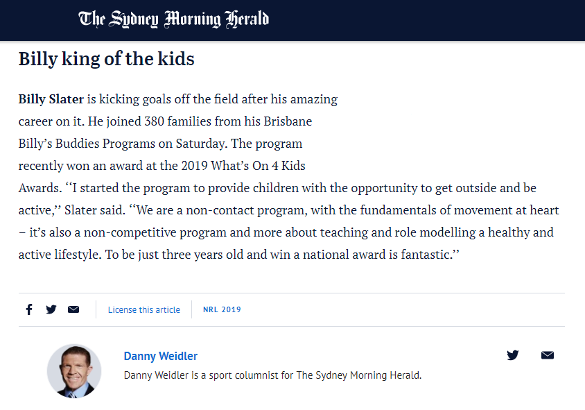Billy Slater's Billy's Buddies Sydney Morning Herald